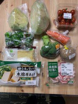 男子料理 2020-2-8 野菜炒め、味噌汁、温野菜、お刺身